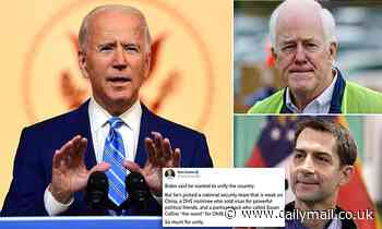Republican Sens. Tom Cotton and John Cornyn slam Biden cabinet picks, suggesting confirmation fight