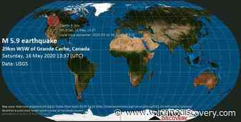 Quake info: Moderate mag. 5.9 earthquake - 29 km west of Grande Cache, Division No. 18, Alberta, Canada, on 2020-05-16 06:37:52 -07:00 - 16 user experience reports - VolcanoDiscovery