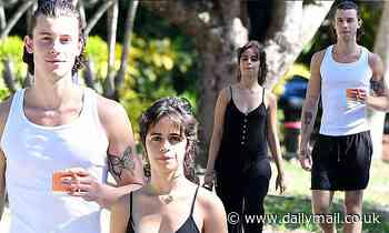 Shawn Mendes and Camila Cabello leave their face masks at home for a stroll in the park in Miami
