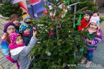 Kinder schmücken Weihnachtsbäume - Freie Presse