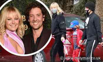 Malin Akerman and her husband Jack Donnelly take her son Sebastian to a playground in Los Angeles