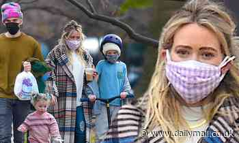 Hilary Duff takes no chances as she wears TWO face masks