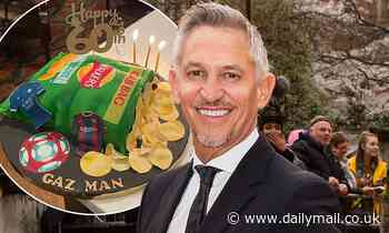 Gary Lineker celebrates his 60th birthday with a cake shaped like a bag of Walkers