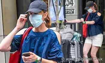 Sunrise newsreader Natalie Barr leaves a Sydney hotel quarantine