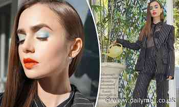 Lily Collins glams up in sparkly pinstripe suit and dramatic makeup for Tonight Show appearance