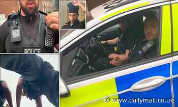 Moment police tell 'citizen journalist' to 'f*** off' before arresting him for 'terrorism'