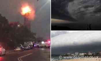 Church in Sydney catches FIRE as wild thunderstorm sweeps through leaving thousands without power