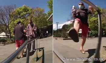 Heated moment 'male Karen' abuses man for trying to ride his scooter down a rail in Melbourne