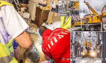 Morbidly obese French man is lifted out of his house by CRANE after being trapped upstairs for year
