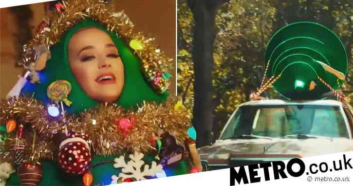 Katy Perry dresses up as a Christmas tree and gets fed cake in Disney's Holiday Sing-a-long