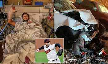 Indians pitcher Cam Hill injures wrist on his throwing arm in a car accident
