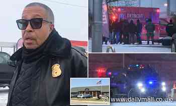Father who shot dead mother of his child in then opened fire at police station is killed in Detroit