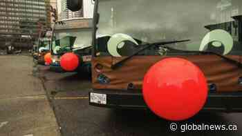Vancouver transit buses dressed like reindeer for the holidays