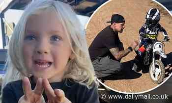 P!nk's husband Carey Hart shares photos and videos of son Jameson Moon training on a mini motorcycle
