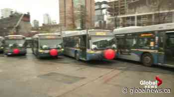 Vancouver transit bus dressed like reindeer for the holidays