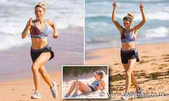 Sam Frost sports painful looking BUG BITES on set for Home And Away in Sydney's Palm Beach