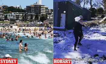 Snow falls in Tasmania while rest of country swelters through heatwave