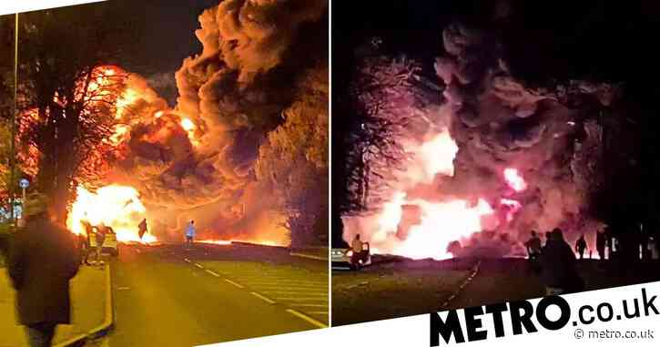 Huge fireball engulfs street as chemical lorry explodes near petrol station