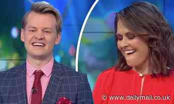 Lisa Wilkinson laughs after Joel Creasey makes a pointed joke about her experience on the Today show