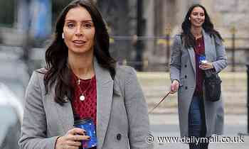 Christine Lampard looks winter chic as she takes her pet dog Minnie along for a coffee run