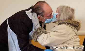Tearful husband, 84, tenderly embraces his Alzheimer's-stricken wife, 82, after weeks apart
