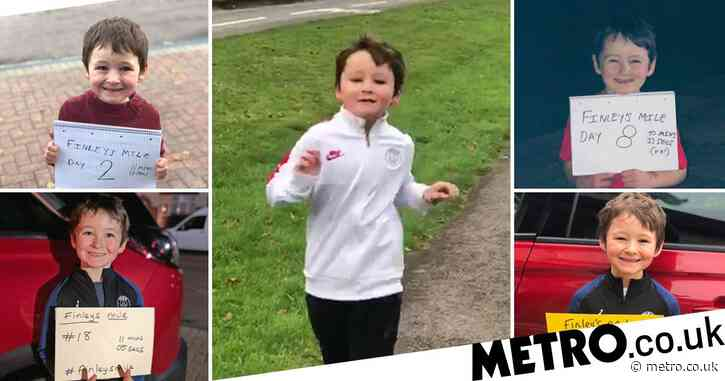 Boy, 7, runs marathon with his dad in lockdown to help families going hungry