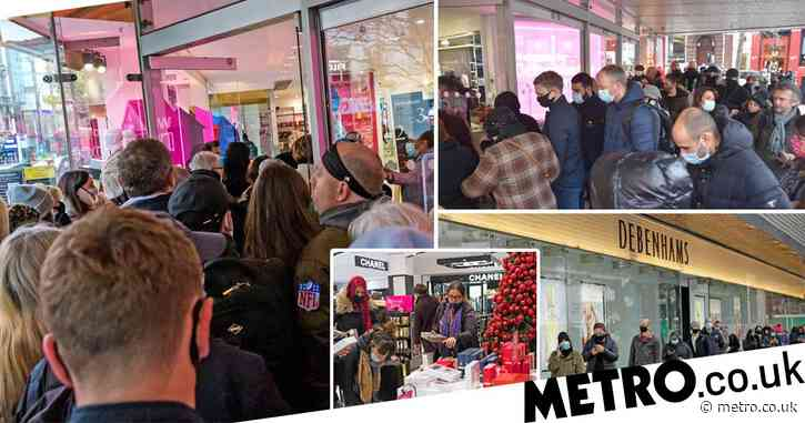 Crowd swarm Debenhams for last minute bargains as stores set to close