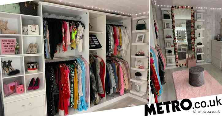 Mum turns daughter's old bedroom into huge walk-in wardrobe