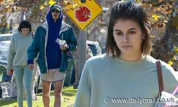 Kaia Gerber appears tired after a workout session with her new boyfriend Jacob Elordi