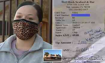 Texas waitress complains restaurant is refusing to pay $2000 tip left to her by a generous customer