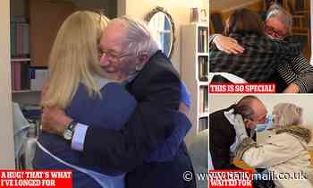 Heartwarming pictures capture man, 89, as he hugs his daughter for the first time since FEBRUARY