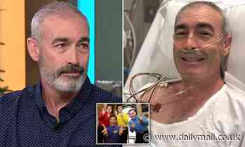 Wiggle Greg Page tears up live on Sunrise watching the terrifying moment he suffered a heart attack