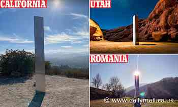 Metal pillar suddenly appears on top of California's Pine Mountain