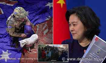 'Are these fake?' A Chinese spokeswoman denies doctoring vile ADF image of Australian soldier