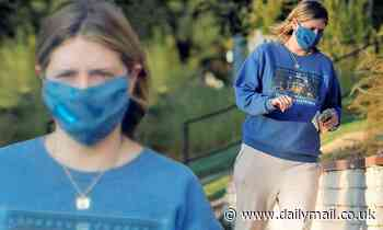 Mischa Barton is looking cool in blue as she wears azure hued face mask