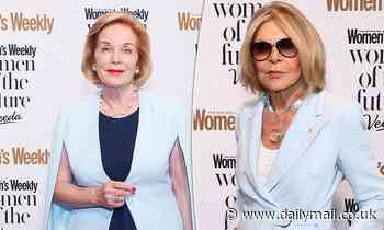 Ita Buttrose and Carla Zampatti both don pale blue jackets at the Women of the Future Awards