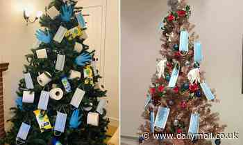 Families are putting up coronavirus-themed trees