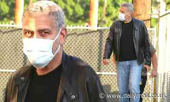 George Clooney cuts a cool figure in a leather jacket as he arrives for a Jimmy Kimmel Live taping