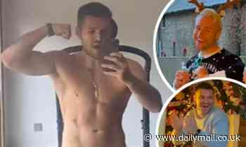 Mark Wright showcases his ripped torso after recreating a Gavin and Stacey scene with Olly Murs