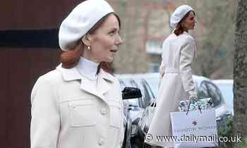 Geri Horner oozes glamour in a cream Gucci coat and beret to film Rainbow Woman in London