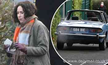 Minnie Driver drives a vintage Triumph while filming series 2 of Modern Love in Ireland