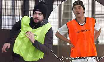 Jack Whitehall joins pal Rafferty Law for a game of football