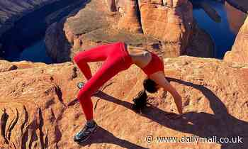 Model Kelly Gale risks death by recklessly stretching by the edge of a cliff
