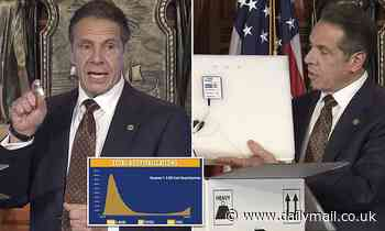 Cuomo presents a mock vaccine to show the complex process of giving it out