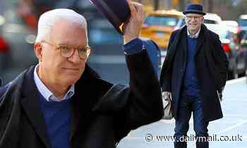 Steve Martin doffs his hat while filming new Hulu comedy series on Upper West Side of New York City