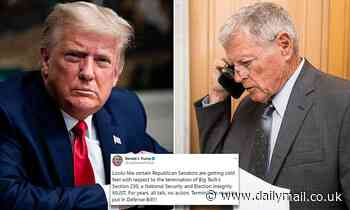 Trump is furious that Senator Inhofe does NOT add repeal of Section 230 to Defense bill