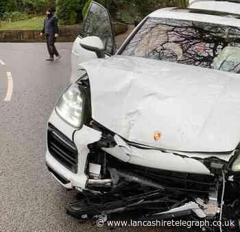Porsche and van collide on Lammack Road, Blackburn