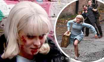 Aggi O'Casey escapes fascist attackers sporting a bloodied face as she films scenes for Ridley Road