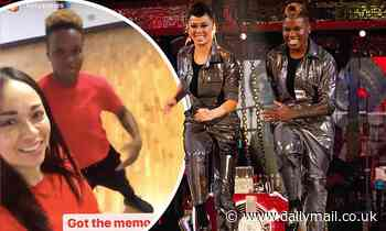 Nicola Adams and Katya Jones twin in red T-shirts as they reunite for Strictly rehearsal