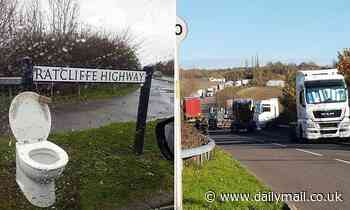 Villagers erect a roadside TOILET for Amazon lorry drivers